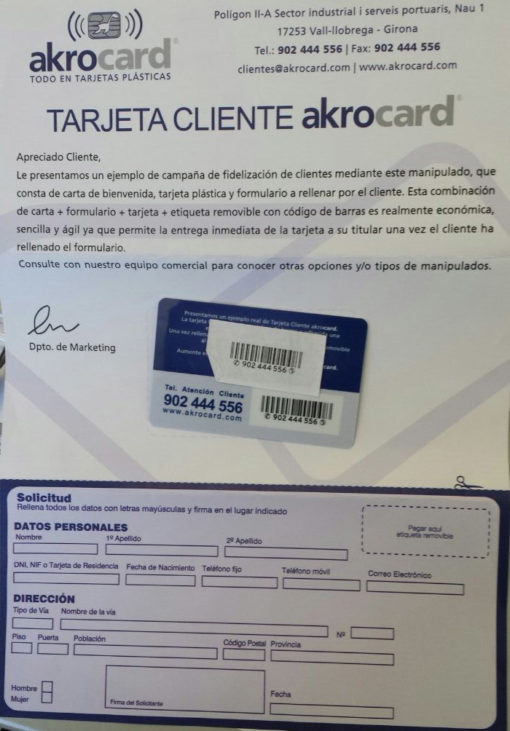 Ejemplo de tarjeta con etiqueta removible y codigo d barras, alta de cliente