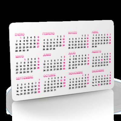 Tarjeta de pvc calendario, calendario promocional