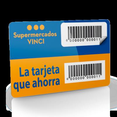 Tarjeta de pvc con codigo de barras etiqueta removible