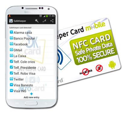 tarjeta NFC guarda contraseñas para el movil