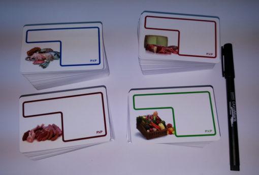 tarjeta porta-precios de pvc para comercios de comestibles