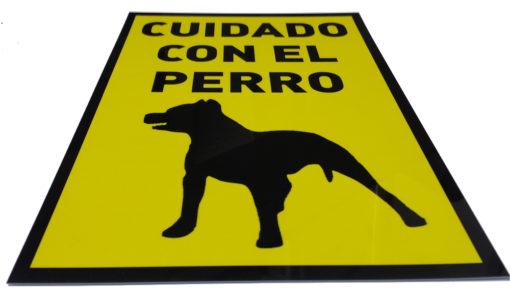 señal cuidado con el perro, avisos, carteles en pvc