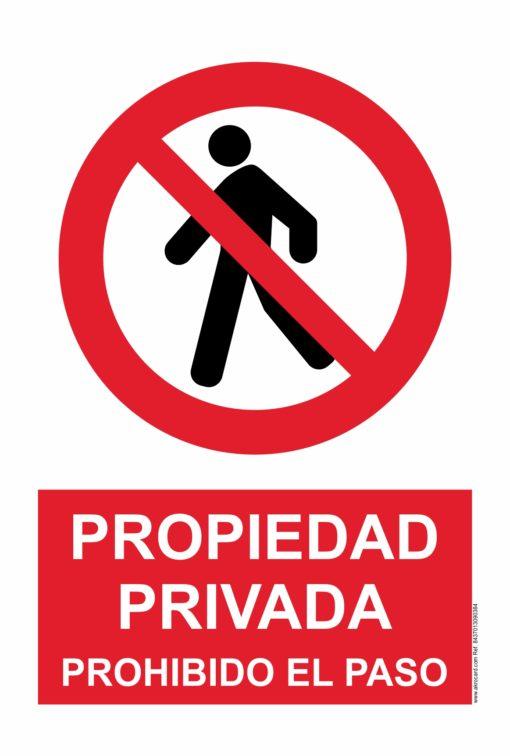 Cartel de aviso: propiedad privada