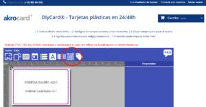 Insertar códigos qr en tarjetas plásticas de pvc en DiyCard